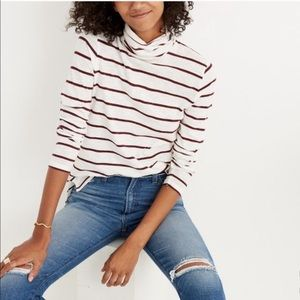 Madewell Whisper Cotton Stripe Turtleneck Top